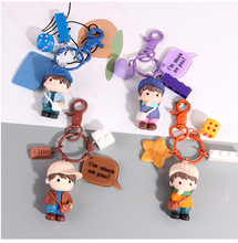 Doll Key Chain Bag Gift Cute Cartoon Couple Small Pendant Key Ring Hat Boy And Girl Student Cartoon Gift Bag Key Chain Pendant 2020 new key chain duck key chain mickey daisy key ring pendant student schoolbag pendant the best gift