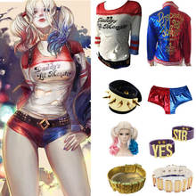 New Women Adult Suicide Squad Harley Quinn Cosplay Costumes Halloween Jacket Daddy's Lil Monster T Shirt Shorts costumes Sets(China)