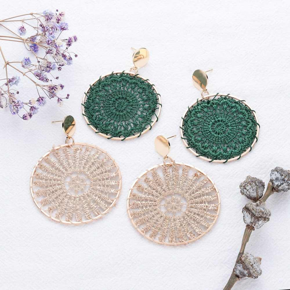 Sun Totem Ethnic Woven Cotton Earrings for Women Bohemian Round Alloy Big Drop Dangle Earrings Female Fashion Jewelry Wholesale