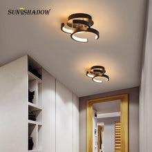 110В 220В светодиодный потолочный светильник для дома спальни коридор черный белый поверхность светильник крепится светильники