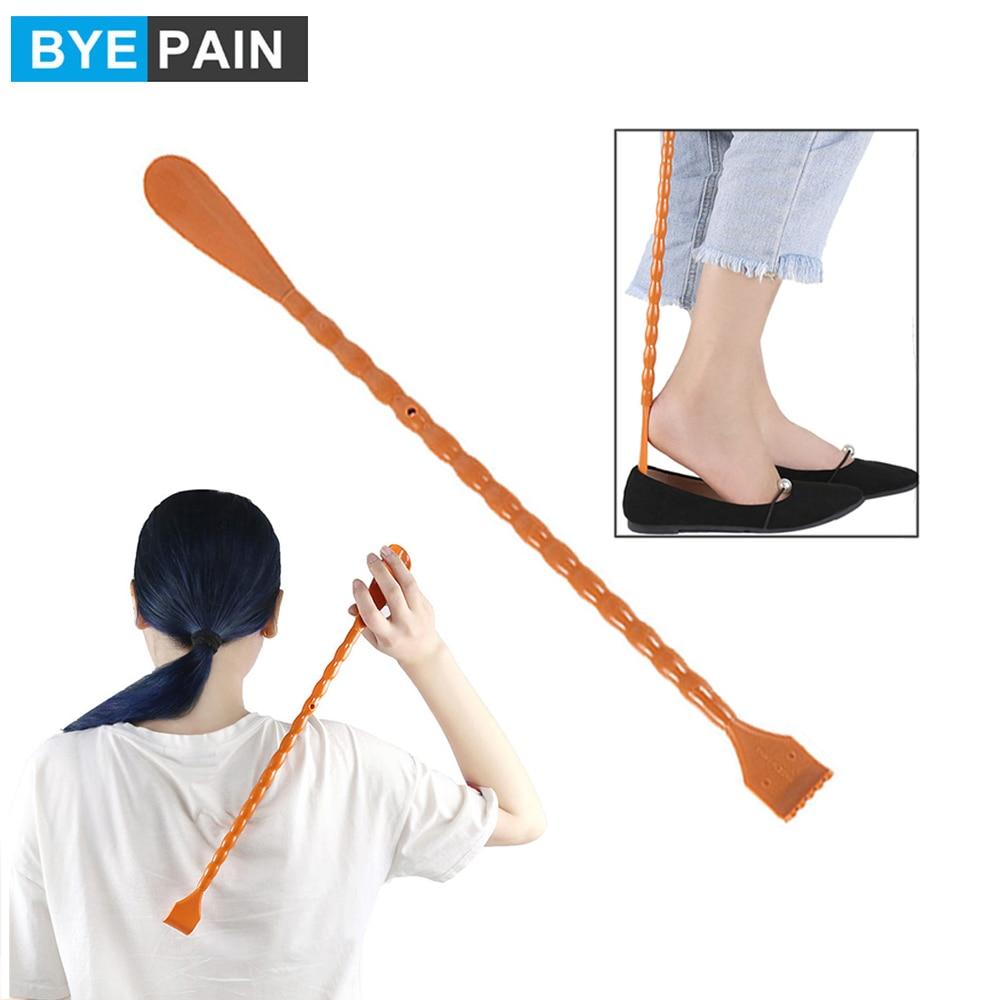 BYEPAIN 1Pcs 2 In 1  Back Scratcher Shoehorn Multifunctional Long Handled Shoe Horn With Hand Shaped Backscratcher