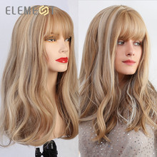 Element Long Natural Wave Hair Synthetic Blonde Mix Grey Wigs with Air Bangs for White/Black Women Cosplay Party