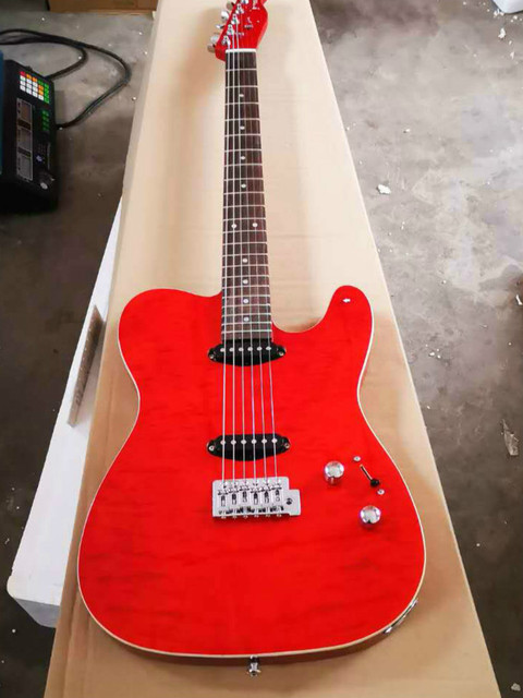 FDTL-2048 red color white binding solid  body with quilted maple venner cover rosewood fretboard  TL electric guitar, Free shipping 2