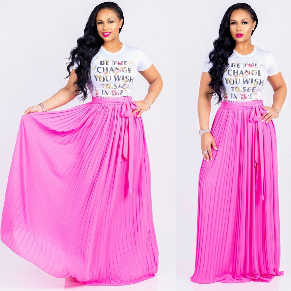 Elegant Elastic High Waist Pleated Maxi Skirt with Belt Summer Women Vintage Bohomian Beach Chiffon Long Skirts Plus Size XXL in Skirts from Women 39 s Clothing