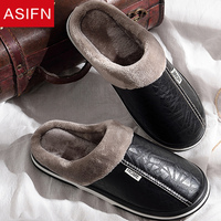 ASIFN Men Winter Slippers with Fur Women Big Sizes Leather Slipper Waterproof Warm Home Male Couple Platform Indoor Shoes man