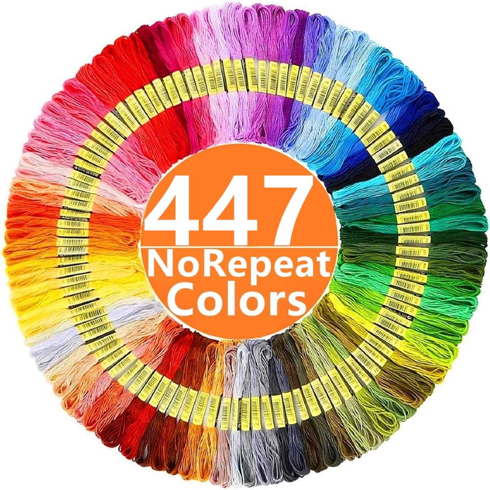 Embroidery Thread 447 Colors Embroidery Floss Cross Stitch Kit Premium Rainbow Embroidery DIY Threads Crafts Cotton Sewing Skein