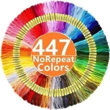 Fio de bordado 447 cores bordado fio ponto cruz kit premium arco-íris bordado diy fios artesanato costura de algodão skein