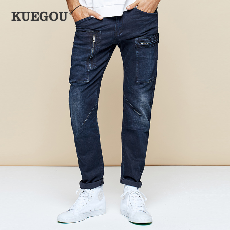 KUEGOU 2019 Autumn Cotton Cargo Skinny Jeans Men Streetwear Brand Slim Fit Denim Pants For Male Hip Hop Stretch Trousers 2938