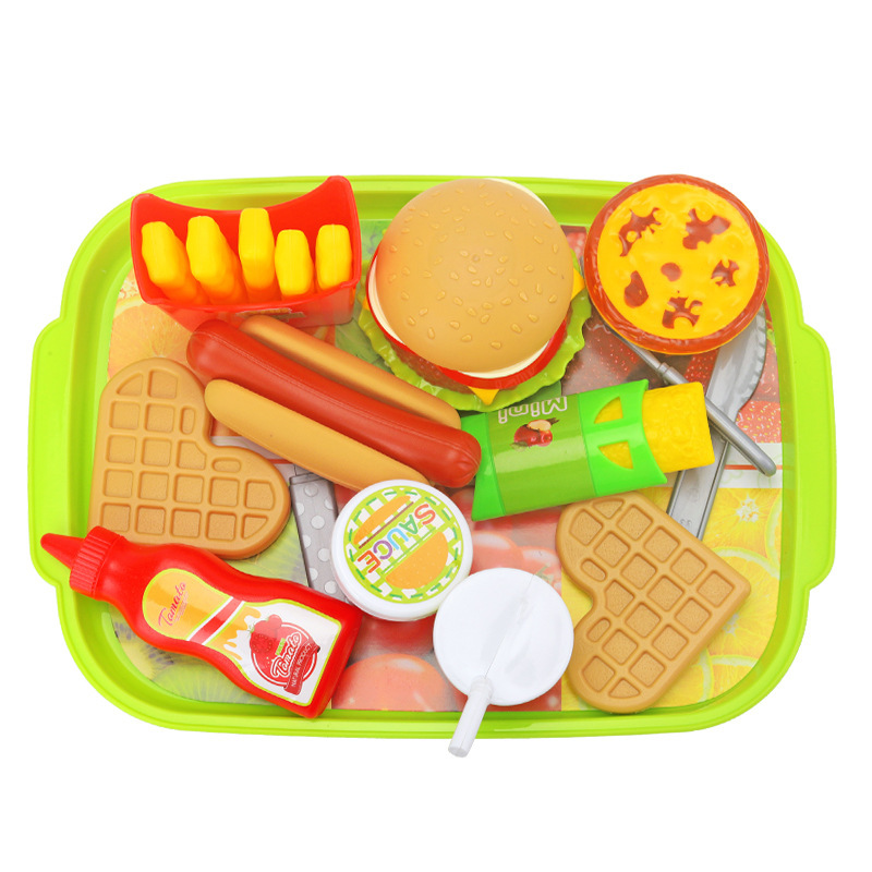 Hot Sale Children's Simulation Play House Toys DIY Assembled Burger Fries Hot Dog Package Play House Educational Toys