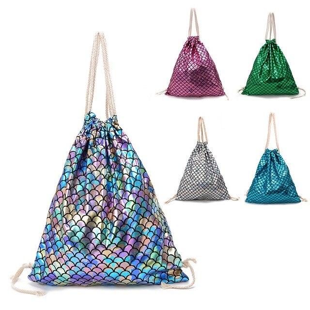 Women Drawstring Bag Beach Bag Outdoor Fitness Sport Bag Bundle Pocket Drawstring Bag Women Backpack Tide Bag Fish Scale Pattern