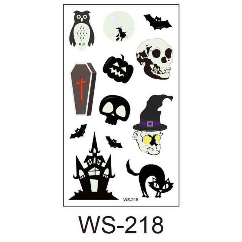 20pc Halloween Luminous Tattoo Ghost Taty For Kids Fake Tattoo Witch Glowing in Dark Waterproof Temporary Tattoo Stickers