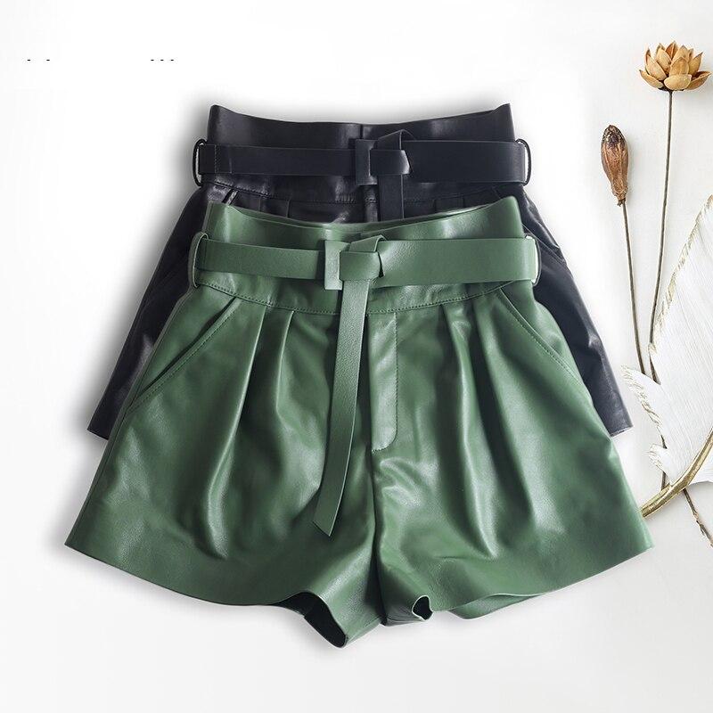Women Harajuku Genuine Leather Bud Pleated Falbala Shorts With Belt Femme High Waist Hhaki/Green Casual Mujer Sexy Booty Shorts