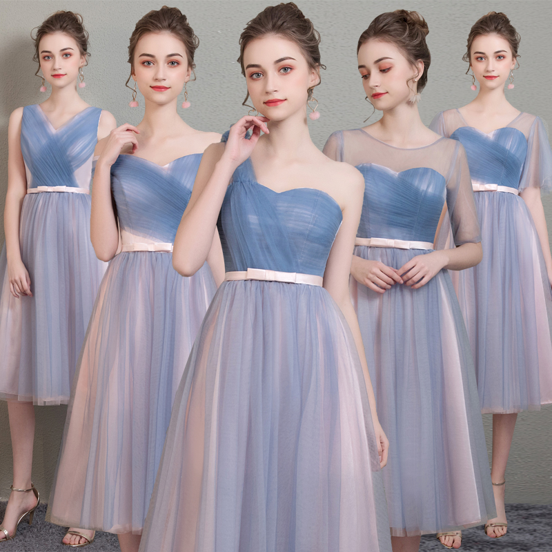 Blue-Pink Tulle Short Bridesmaid Dresses with Bow 2020 Knee Length Wedding Party Dress robe demoiselle honneur