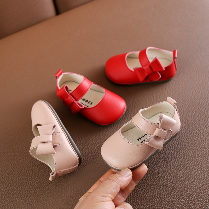 New Spring Girls Single Shoes Korean Version Princess Soft-soled Leather Shoes Baby Toddler Shoes Baby Moccasins