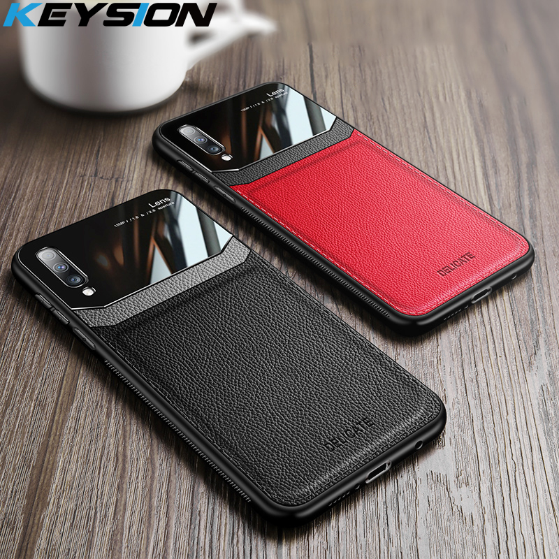 KEYSION Leather Case for <font><b>Samsung</b></font> <font><b>Galaxy</b></font> A50 A30S A20 A70 A7 <font><b>2018</b></font> Mirror Glass Phone Back Cover For <font><b>Samsung</b></font> Note 10 Plus S10 9 <font><b>8</b></font> image