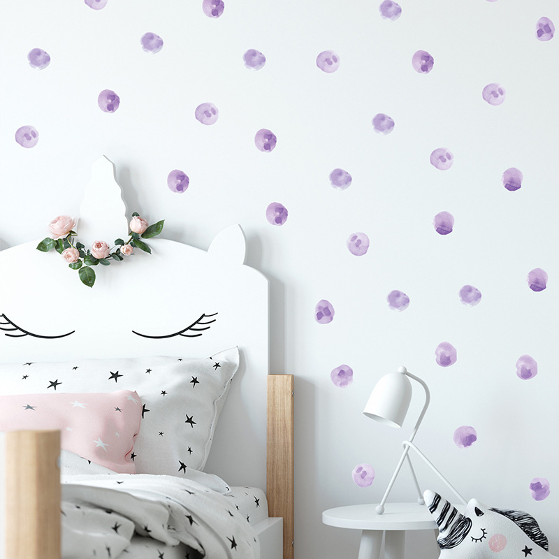 Watercolor Purple Polka Dots Wall Stickers Circles Hand Drawn Wall Decals For Kids Room Baby Nursery Home Decoration Wall Decor