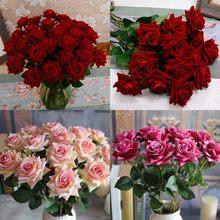 1pc High-grade Samt Rose Gefälschte Seide Blumen Blatt Künstliche Hause Hochzeit Decor Bouquet Geburtstag Party Weihnachten Decor