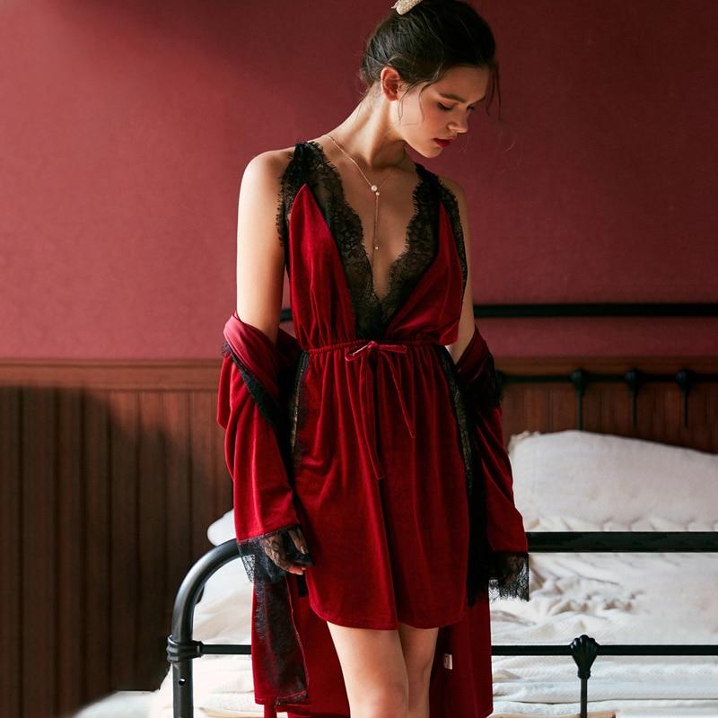 JULY'S SONG Fashion Women Winter Pajamas Set Velvet Robe Gown Set  Autumn Sexy Lace Sling Women Sleepwear Pajamas  Nightdress
