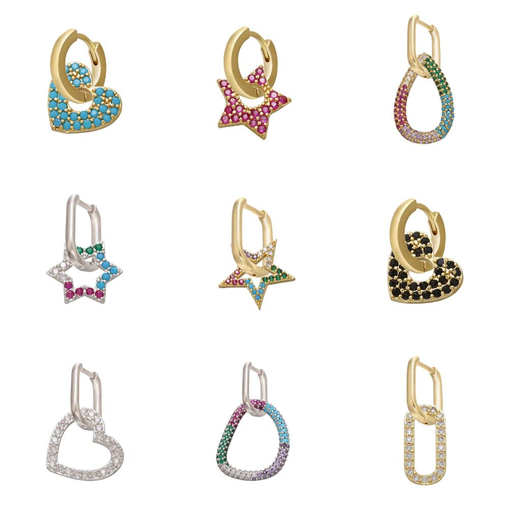 HECHENG 1pair rainbow earrings wholesale CZ colorful gold color cooper jewelry accessries for women VD732