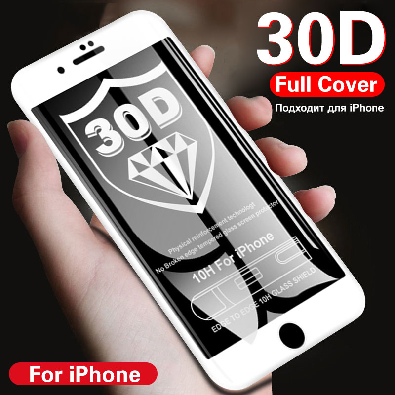 PLV 50D Tempered Glass On For iPhone 7 8 6 6S Plus X Full Cover Screen Protector For iPhone X XR XS MAX 5 5S SE Protective Glass-in Phone Screen Protectors from Cellphones & Telecommunications