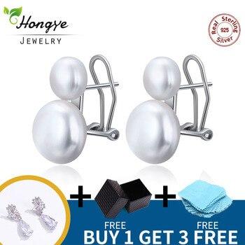 Hongye Natürliche Süßwasser Perle Ohrringe 925 Sterling Silber schmuck Doppel White Pearl Stud Ohrring für Frauen Hochzeit Geschenk