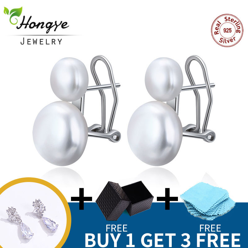 Hongye Natural Freshwater Pearl Earrings 925 Sterling Silver jewelry Double White Pearl Stud Earring for Women Wedding Gift