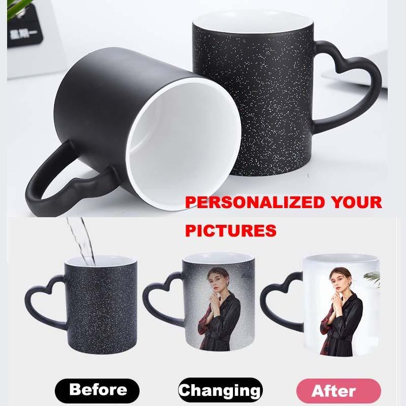 DIY  Custom Photo Magic Mug Heat Sensitive Ceramic Mugs Personalized Color Changing Coffee Milk Cup Gift Print Pictures