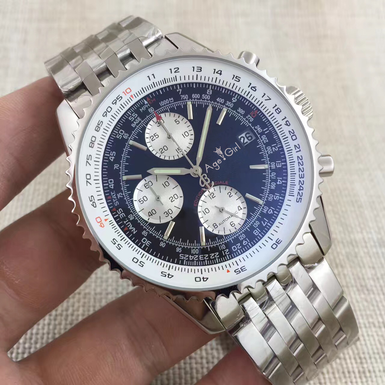 Luxury Brand New Men Automatic Mechanical Chronograph Stopwatch Black Blue Stainless Steel Sapphire Limited Watches AAA+