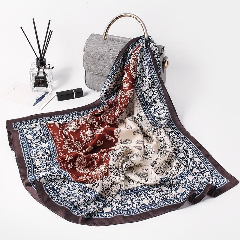 Fashion Paisley Print Hair Scarf For Women Small Shawls Silk Satin Bag Scarfs Female 70cm*70cm Headband Neck Scarves For Ladies