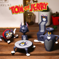6pcs/set Cartoon Tom and Jerry Funny Funny Cat Shaped Tom Collectible Figure Model Toy