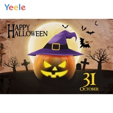 Yeele Halloween Photocall Moon Pumpkin Witch Tombs Photography Backdrops Personalized Photographic Backgrounds For Photo Studio