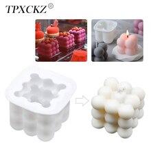 Силиконовая форма для свечи TPXCKz, два размера, 3D кубический квадратный пузырь для самостоятельного изготовления, антипригарный кухонный под...