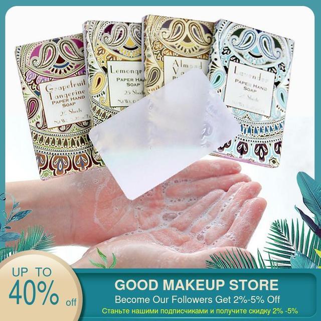 25PCS/SET Travel Soap Paper Washing Hand Bath Clean Scented Slice Sheets 25pcs/lot Disposable Box Soap Portable Mini Paper Soap