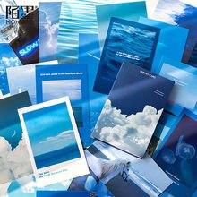 30 unids/set azul es otra serie Azul, tarjeta de felicitación, paisaje, postal, Sobre Carta de cumpleaños, juego de tarjetas de regalo, tarjeta de mensaje