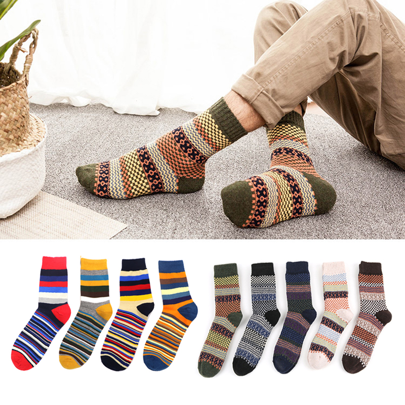 3 Pair Fashion Colorful Cotton Socks Printed Pattern Hip Hop Long Tube Men Socks Novelty Crew Casual Long Socks Winter Warm