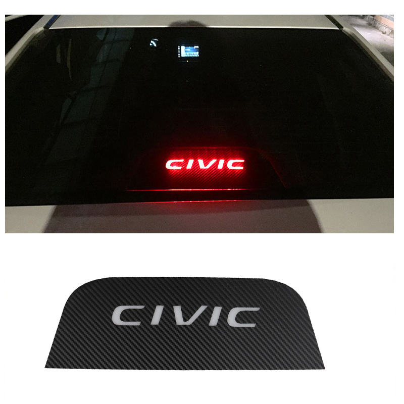 For Honda Civic 2016 2017 2018 2019 Carbon Fiber Car Brake Lights Decorative Cover Stop Lamp Stickers Modified
