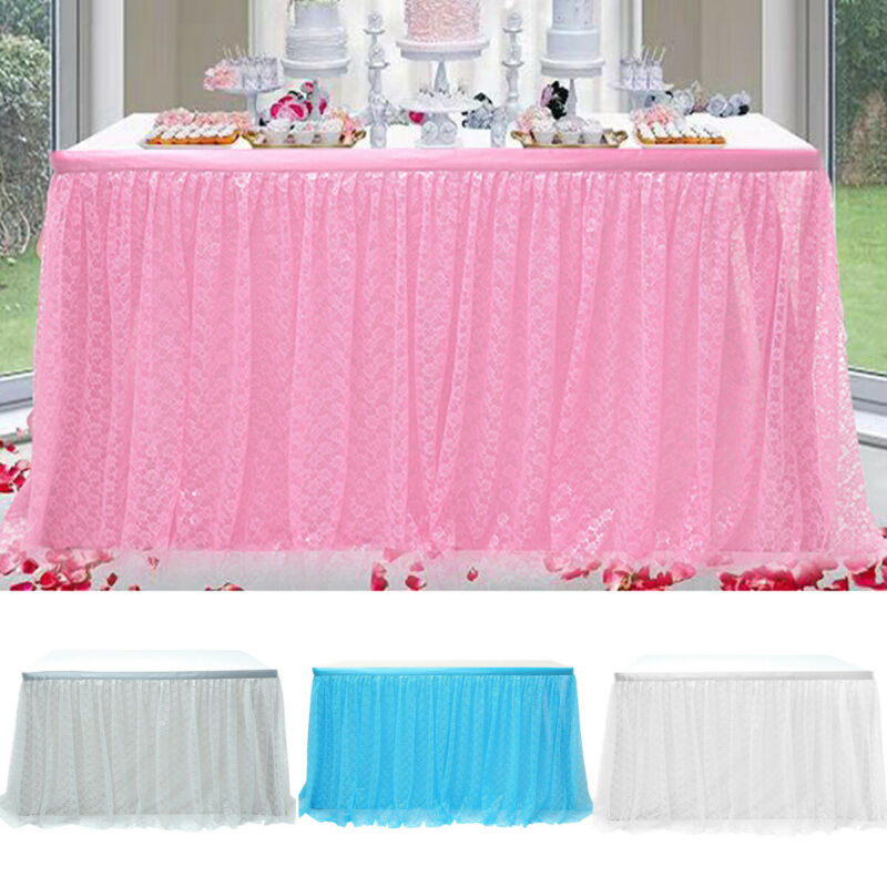 Lace Table Skirt Tulle Tutu Birthday Party Table Decoration Wedding Baby Shower