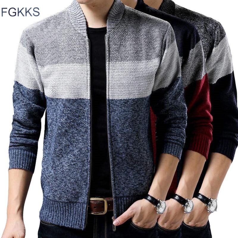 FGKKS Brand Men Sweaters Coat Winter Warm Men's Fashion Cardigan Sweater High Quality knitting Male Splice Wool Slim Sweater