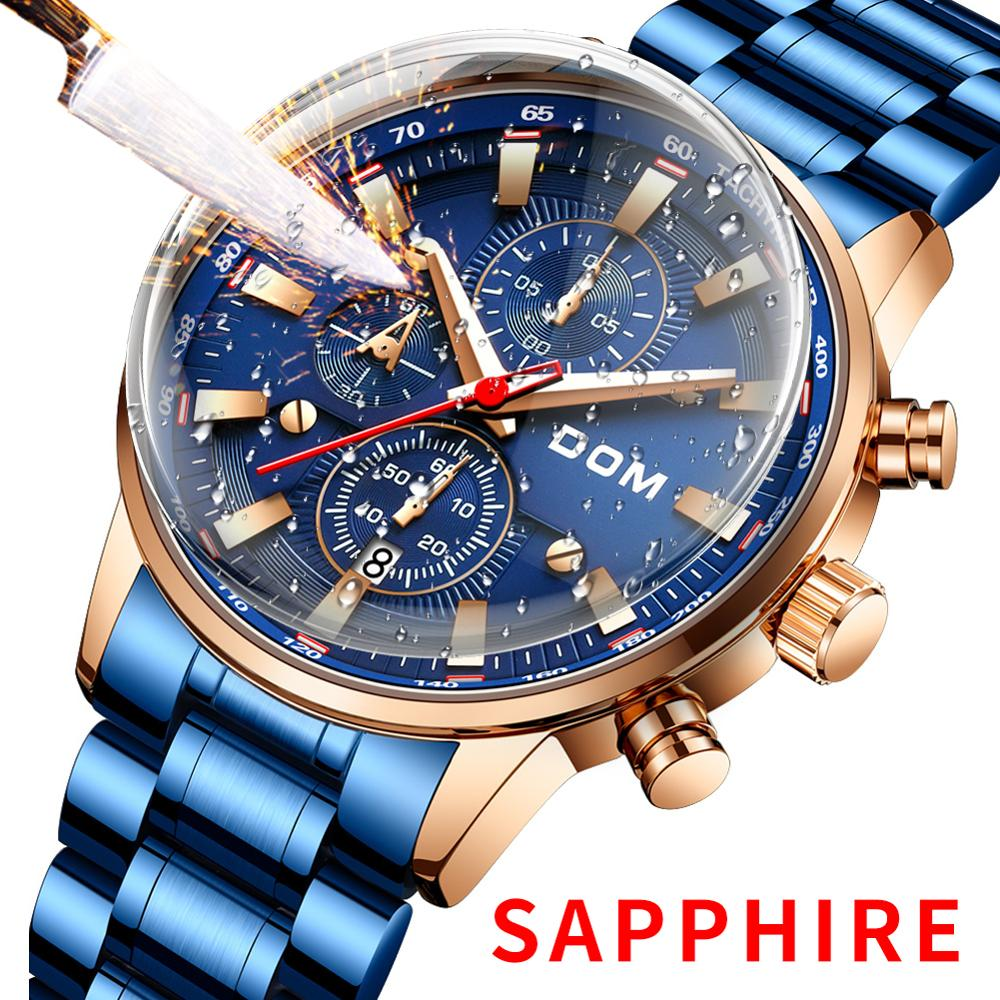 DOM Sapphire Sport Watches for Men Top Brand Luxury Military Stainless Steel  Wrist Watch Man Clock Chronograph Wristwatch