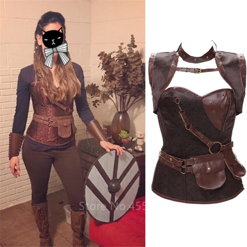 Corsé Medieval renacentista, vestido Retro para mujer, cuero Steampunk, corpiño gótico Sexy, corpiño, disfraz de pirata Vikingo, disfraz de fantasía