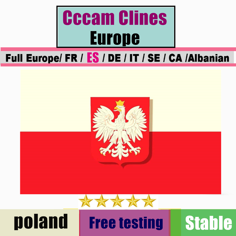 1 an Europe pologne Cccam pour la pologne clines pour DVB S2 HD Freesat V7 HD V8 Nova V9 Super TV BOX 1 an de Service CCCam