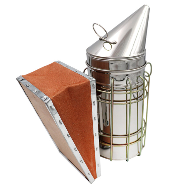 1 Pc Beekeeping Tool Stainless Steel Bee Hive Smoker Galvanized Iron With Heat Shield Protection 2