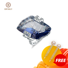 Gems Ballet 5.21Ct Irregular Natural Iolite Blue Mystic Quartz Gemstone Rings Womens 925 Sterling Silver Cocktail Fine Jewelry