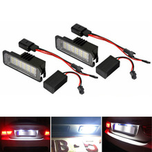 цена на 2Pcs 12V LED Number License Plate Light Lamps for VW GOLF 4 5 6 7 Polo 6R Car License Plate Lights Exterior Accessories