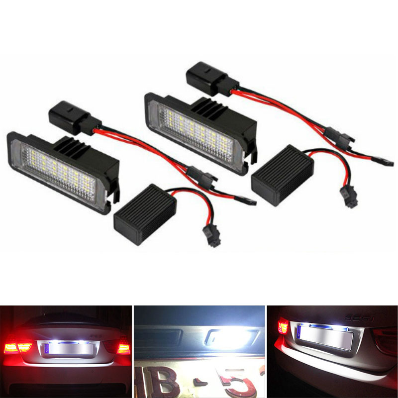 2Pcs 12V LED Number License Plate Light Lamps for VW GOLF 4 5 6 7 Polo 6R Car License Plate Lights Exterior Accessories