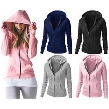 Casual Fall Pink Womens Hoodies Pullover Grey Sweatshirt Black Fashion Cute Women's Cotton Solid Color Zipper Up Slim Clothing light grey black pullover lantern sleeves sweatshirt
