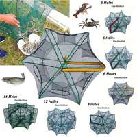 6/8/12/16 Holes Strengthened Automatic Fishing Net Nylon Bold Fishing Net Prawn Cage Folding Fishing Gear Fishing Trap Network
