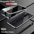 Double Sided Magnetic Metal Case For Xiaomi Redmi Note 8 9 9S 8T 7 9A 9C K20 10 CC9 9T POCO X3 NFC F2 Ultra Pro Lite Glass Cover