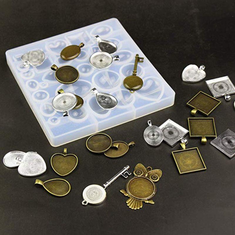 35 pièces/ensemble pendentif métal alliage plateau Silicone moule ensemble bricolage fait main bijoux bas moules collier Bracelet porte-clés accessoires M