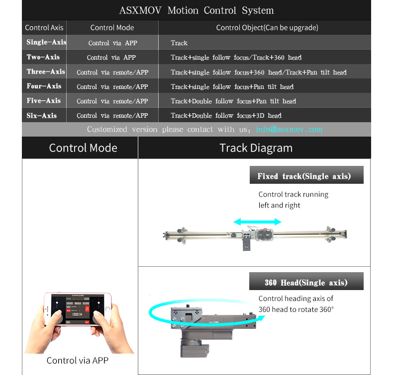 ASXMOV G1-G6 extendable timelapse video stabilizer dslr camera track system motorized dolly slider wireless APP controller